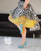 Zebra Tellerrock mit Petticoat
