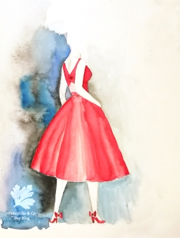 Fashion Illustration, Rotes Vintage Sommer Set