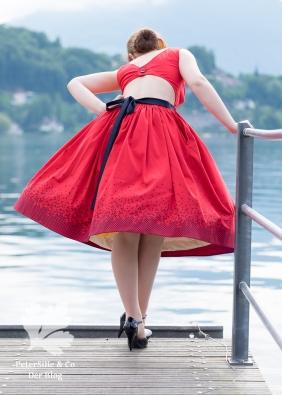 Beyer Mode 6 1961, Vintage Kleid nähen, Rot, 50s, zweiteilig, Rückenauschnitt, Siebdruck Rock