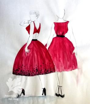 Modeillustration Vintage Kleid
