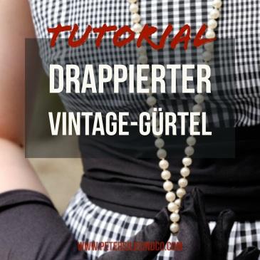 drappierter Vintage Gürtel nähen Tutorial quadratisch