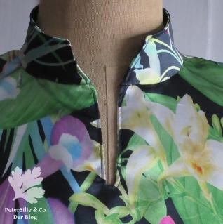 Kimonobluse mit angeschnittenen Ärmeln Stehkragen