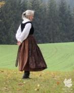 Dirndl Leinen/ Samt, Schürze Baumwollprint( Karlotta Pink)