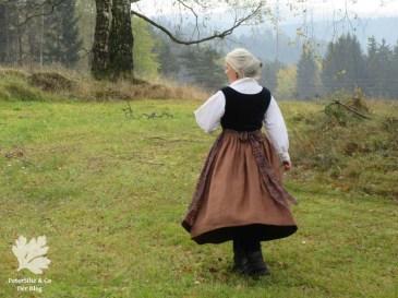 Dirndl Herbst nähen Leinen Samt, Schürze Baumwollprint Karlotta Pink