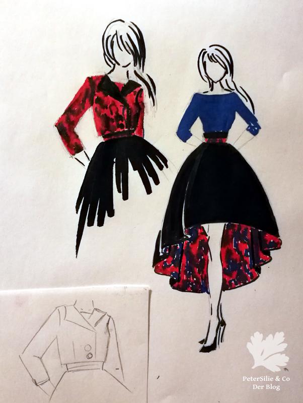 Entwurf Kleid Modezeichnung