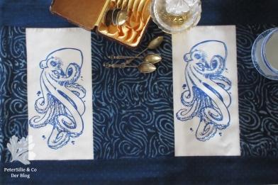 Tischläufer Siebdruck Blockprint Karlotta Pink Patchwork