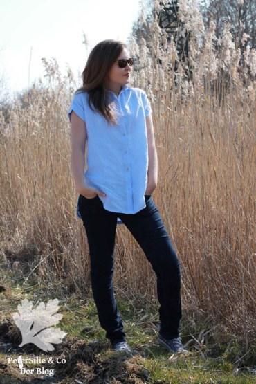 Kalle Shirt Closet Case Pattern hellblau Leinen Kragen Knopfleiste