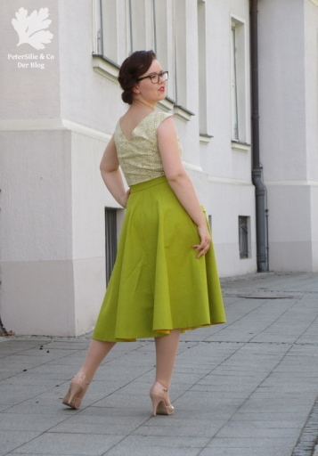 Grünes Vintage Ensemble Kleid Rock Bluse Karlotta Pink