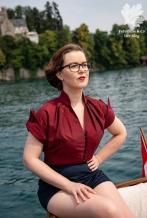 Burda Vintage Bluse Nähen Blog Karlotta Pink Handloom 2/1954