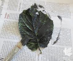 Farbauftrag Blätterdruck