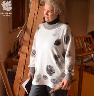 Pulli Materialdruck mit Blättern Flexible Raffungen& Bündchen Yoshiko Mizuno Stiebner Bretagne-Shirt