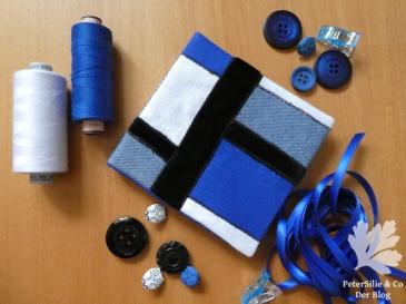 Nadelbrief in Blau Schwarz Weiß