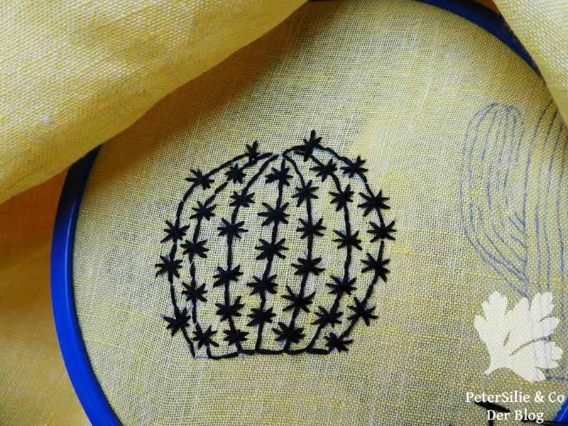 Kaktus aus Hoop Art Vorzeichnung und erster fertiger Kaktus