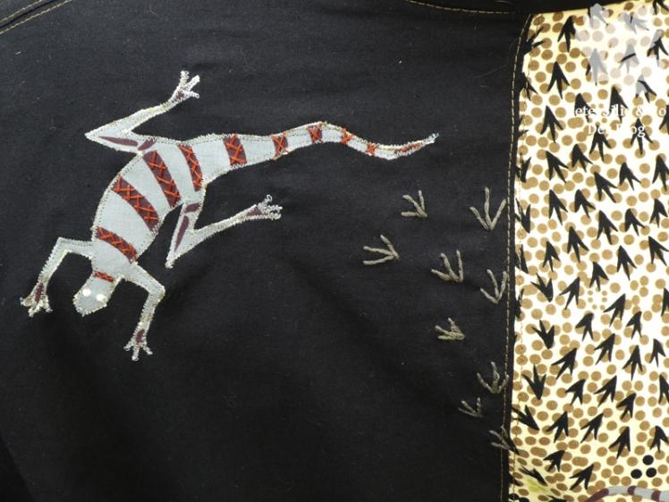 goanna and snake aborigineprint karlotta pink stiebner detail2