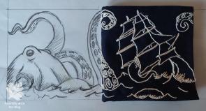 Skizze Stickerei Krake