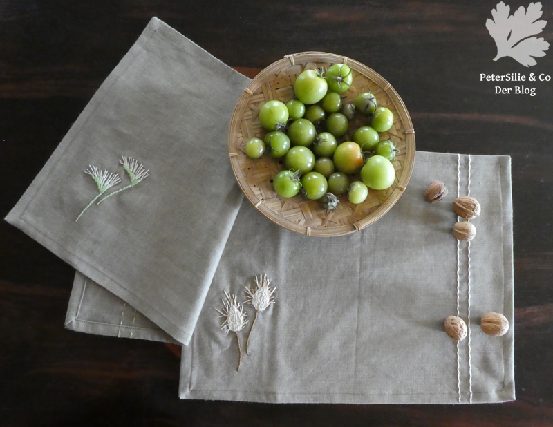 Tischset Mähnengerste und Hasenschwanzgras Leinen