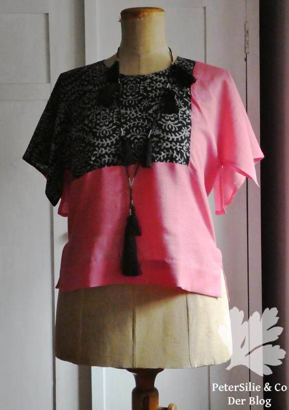 Colour Blocking Bluse Stiebner Seide BW Karlotta Pink