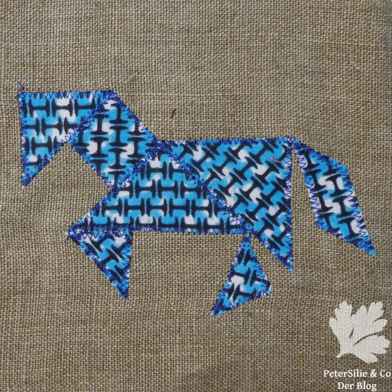Tangram Applikation Stoff pferd