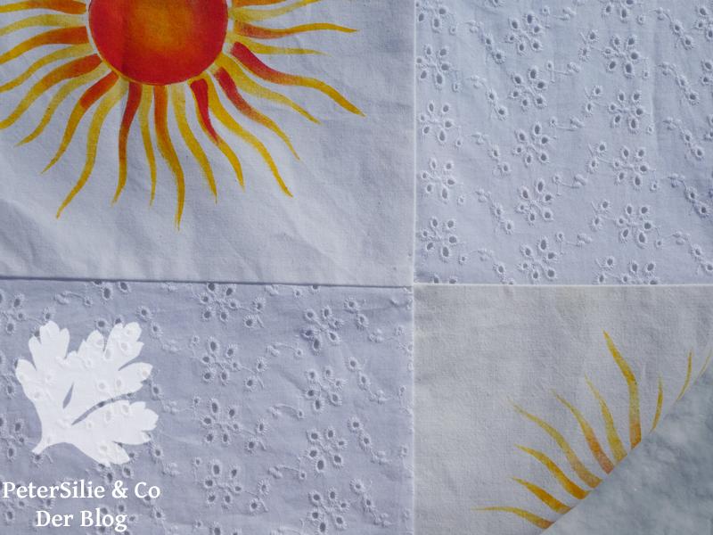 sonnen patchwork tischdecke schablonenmalerei