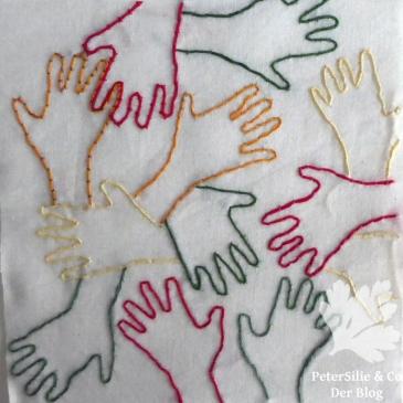 Stickerei Hände Couching Legetechnik
